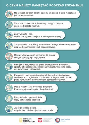 Wytyczne podczas egzaminów
